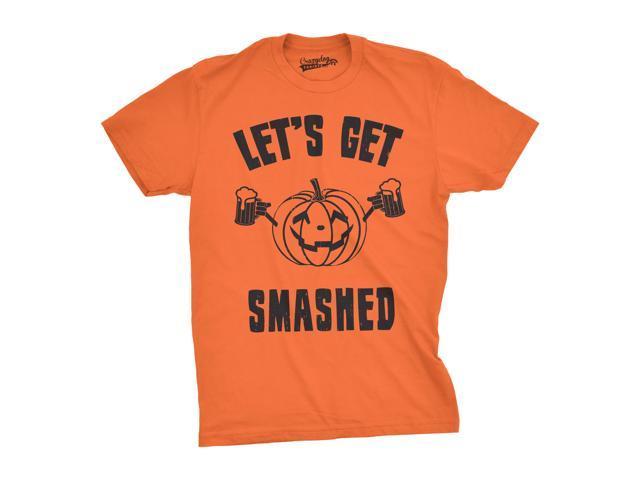 cdf466e1 Mens Lets Get Smashed Funny T shirts Pumpkin Halloween Costume T shirt  (Orange) -
