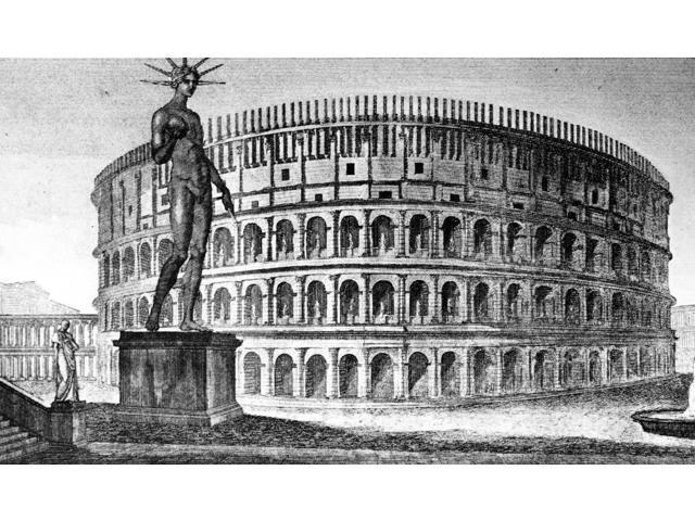 Rome Colossus Of Nero Nreconstruction Of The Colossus Of Nero And The Colosseum In Ancient Rome Line Engraving Italian 1831 Poster Print by  (18 x 24)