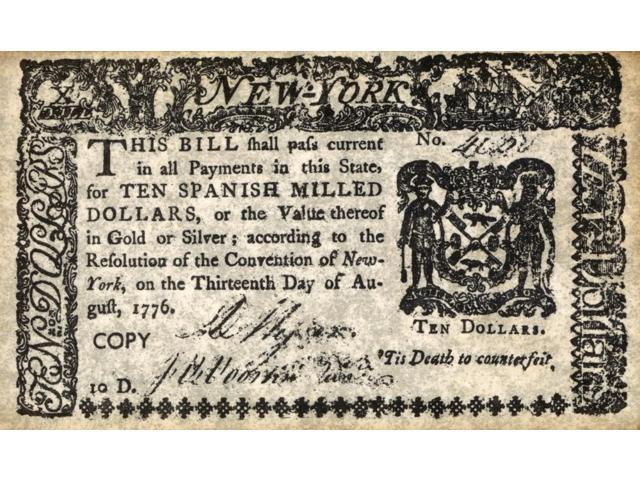 New York Bill 1776 Nbill For Ten Spanish Milled Dollars Issued According To The Resolution Of