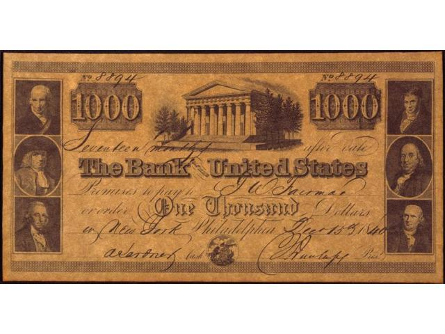 Us Bank Banknote 1840 None Thousand Dollar Issued In By The Of