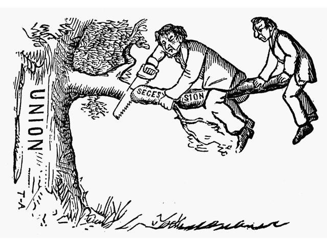 Cartoon Secession 1861 Nsecessionists Leaving The Union American