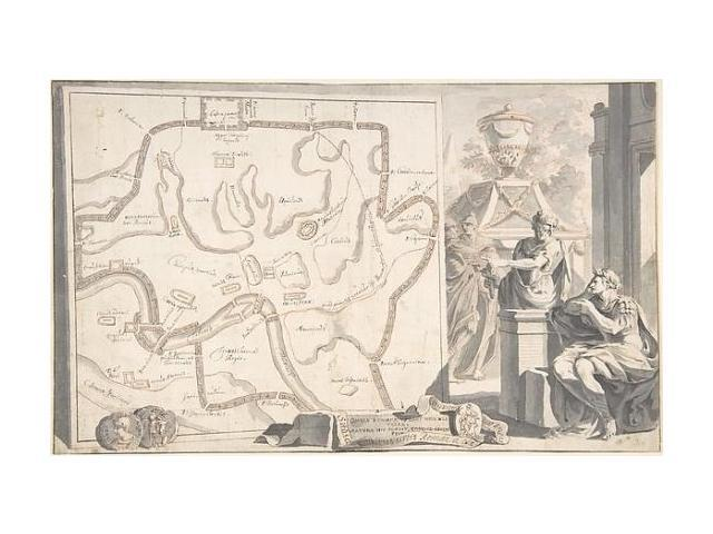 image relating to Printable Map of Ancient Rome titled Map of Historic Rome Illustrating Principal Monuments and the 7 Hills Poster Print via Jan Goeree (8 x 10) (8 x 10) -