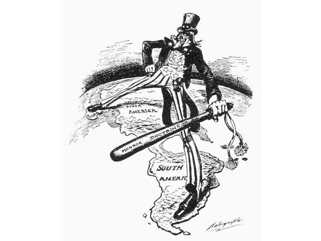 Monroe Doctrine Cartoon Nuncle Sam Straddles The Americas While