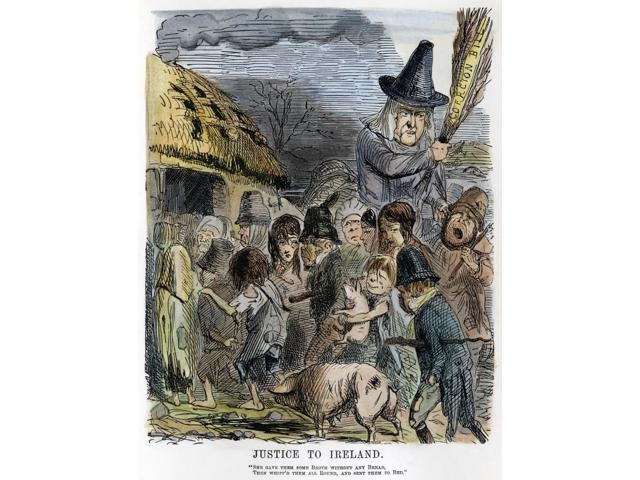 Irish Potato Famine 1846 NJustice To Ireland An 1846 Cartoon By John Leech  From Punch Critical Of The Irish Arms (Or Coercion) Bill Brought In By The