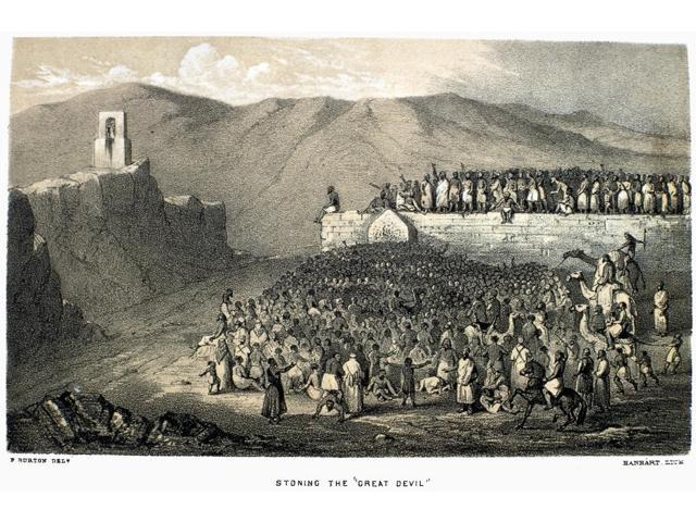 Mecca Hajj Ritual NStoning The Great Devil A Hajj Ritual Performed By  Muslim Pilgrims In The City Of Mina East Of Mecca Saudi Arabia Illustration  From