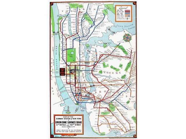 1940 Nyc Subway Map.New York Subway Map 1940 Nmap Of The Subway System Of New York City Published By The Union Dime Savings Bank 1940 Poster Print By 18 X 24