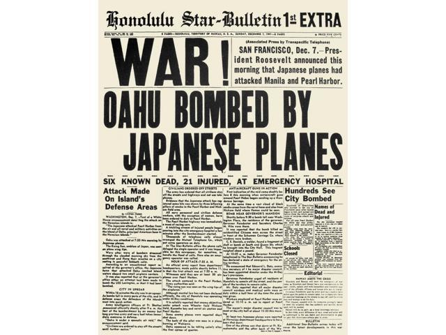 World War Ii Pearl Harbor Nthe Front Page Of The Honolulu-Star Bulletin 7  December 1941 Announcing The Japanese Attack On Pearl Harbor Poster Print  by