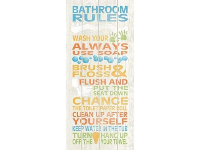 Bathroom Rules I Poster Print by N Harbick (24 x 48) - Newegg com