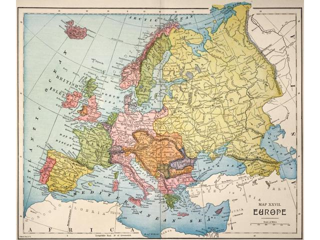 Map Europe 1885 Nmap Of Europe Published In The United States ...