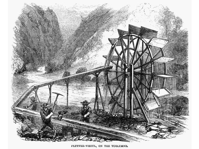 Gold Mining 1860 Ngold Miners Using A Flutter Wheel On The Tuolumne River  In California Wood Engraving American 1860 Poster Print by (18 x 24) -