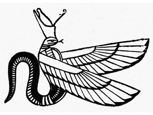 Symbol Winged Serpent Nancient Egyptian Symbol Of Evil Line