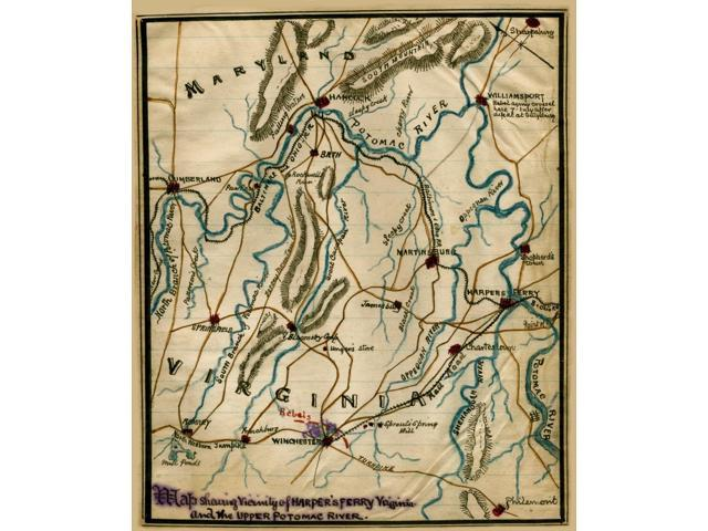 Harpers Ferry Virginia Map.Harpers Ferry Virginia And The Upper Potomac River Maryland And