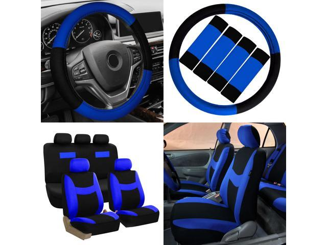 Car Seat Covers Blue Black 17pc Set For Auto W Steering Wheel Belt Pad