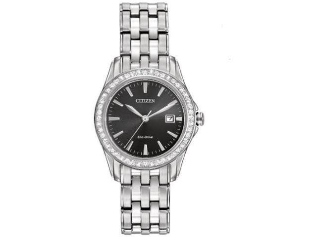 Citizen Women s EW1901-58E Eco-Drive Stainless Steel Black Face Watch b35f8f336c