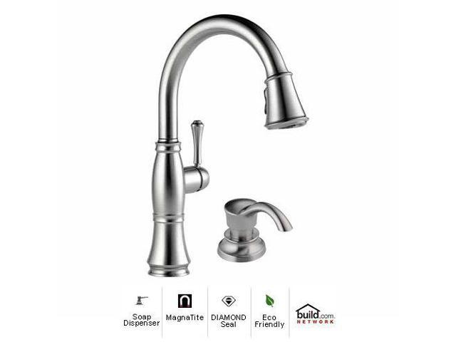 Delta 9197 Ar Dst Sd Cassidy Pullout Spray Kitchen Faucet With Magnatite Docking Diamond Seal And To Arctic Stainless Newegg Com