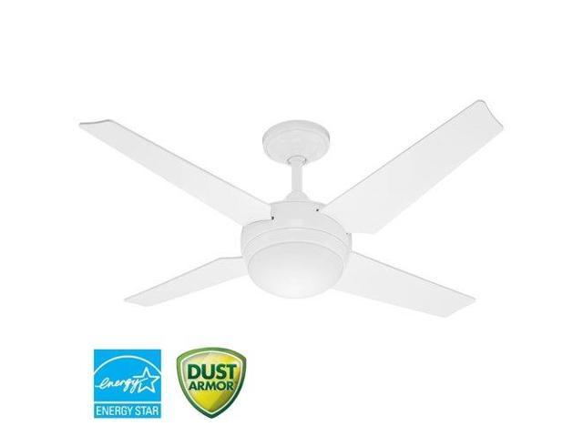 Hunter 59073 52 In Sonic White Ceiling Fan With Light Handheld Remote