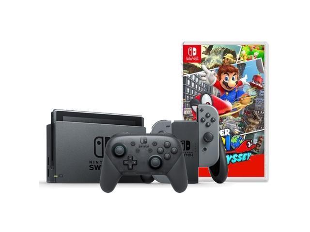 Nintendo Switch Console with Gray Joy-Con + Nintendo Switch Pro Controller + Super Mario