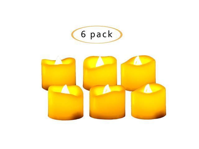 6 pcs Orange Flameless Flickering LED Candle Tea Light Home Decoration Supplies