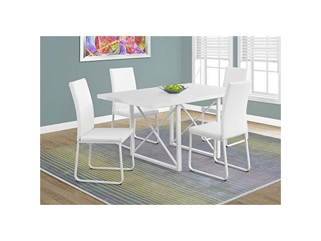 Monarch Specialties 1101 Rectangular Dining Table In White Glossy White Metal Newegg Com