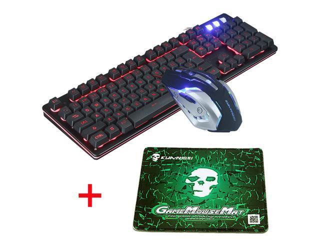 a990c2259fd UrChoiceLtd® T7 3 Colors Backlit Multimedia Ergonomic Usb Gaming Keyboard +  2400DPI 6 Buttons Optical