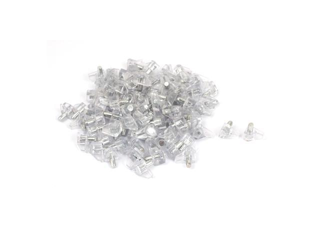 Global Bargains Kitchen Cabinet 5mm Metal Pin Plastic Shelf Supports Pegs  Studs Clear 100pcs