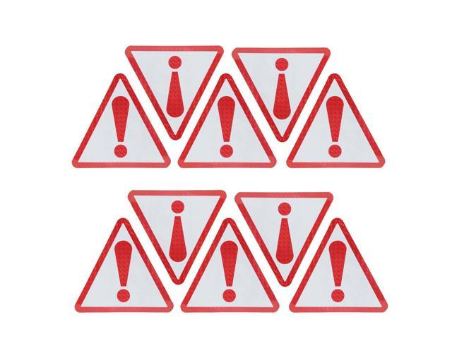 10pcs Red Car Vehicle Triangle Type Self Adhesive Bumper Sticker