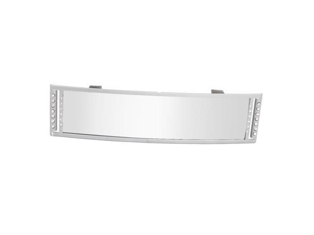 Car Rectangle Gray Plastic Frame Rear View Glass Mirror 27cm Length