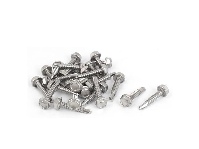 M4 8x25mm Thread 410 Stainless Steel Hex Washer Head Self Drilling Screws  25 Pcs - Newegg com
