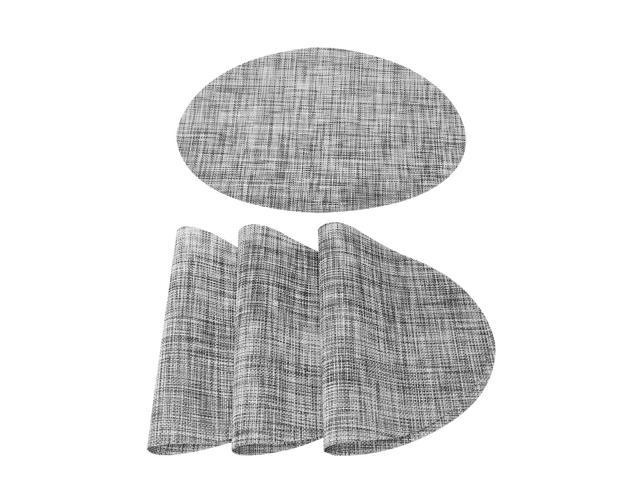 Set Of 4 Placemats Cross Woven Washable Dining Table Mats Gray 18