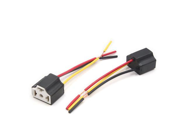 Superb 2Pcs Black Car H4 Ceramic Wiring Harness Extension Socket Wire Wiring 101 Archstreekradiomeanderfmnl