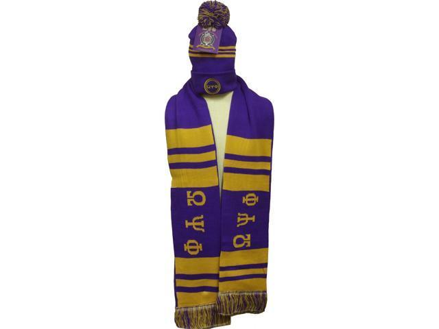 03ae3f28110 Buffalo Dallas Omega Psi Phi Mens Knit Beanie Skull Cap   2-Ply Scarf Set   Purple