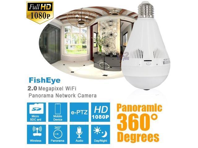 NEW Full HD 1080P 2 0MP P2P 48 LED E27 Light Bulb Wireless IP Camera CCTV  Security Hidden Cam Wi-FI FishEye 360 degree Panoramic VR Mini Lamp -