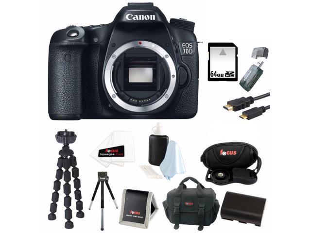 Canon EOS 70D 20 2 MP DSLR Camera Body with 64GB SDHC Accessory Bundle -  Newegg com