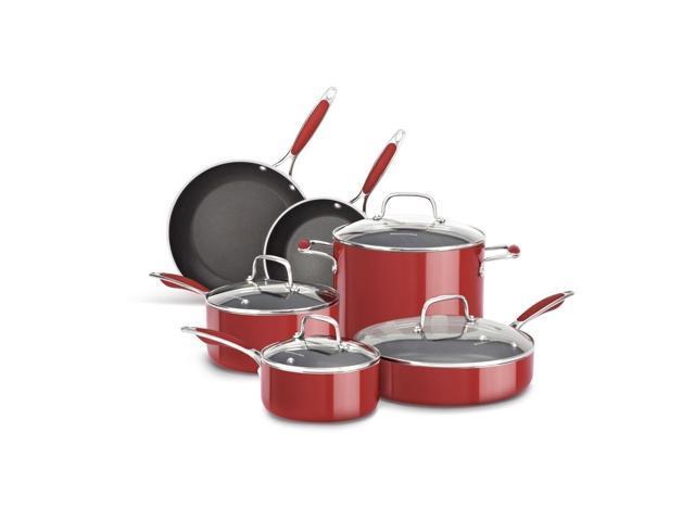 New KitchenAid Aluminum Nonstick 10-Piece Cookware Pots & Pans Set on staub cookware, rachael ray cookware, anolon cookware, farberware cookware, lodge cookware, chef's choice cookware, dacor cookware, cook stainless steel cookware, induction cookware, bluestar cookware, paula deen cookware, baker's edge cookware, vasconia cookware, titanium cookware, delonghi cookware, williams-sonoma cookware, fujimaru cookware, calphalon cookware, cuisinart cookware, all-clad cookware, circulon cookware, scanpan cookware, emeril cookware, magnalite cookware, le creuset cookware, thermos cookware, viking cookware, sears cookware, sur la table cookware, pfaltzgraff cookware, lacor cookware,