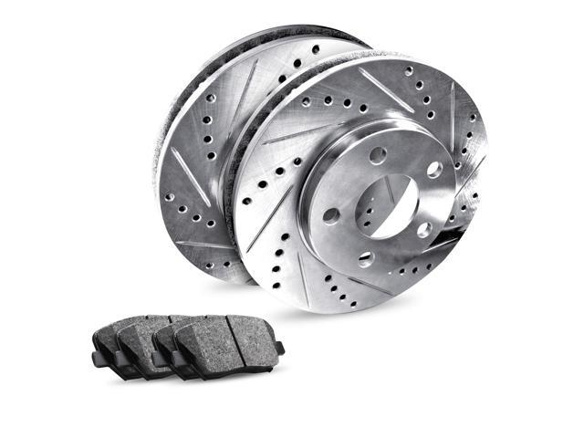 Rear eLine Drilled Slotted Brake Rotors & Semi Met Brake Pads REC 62064 03  - Newegg com