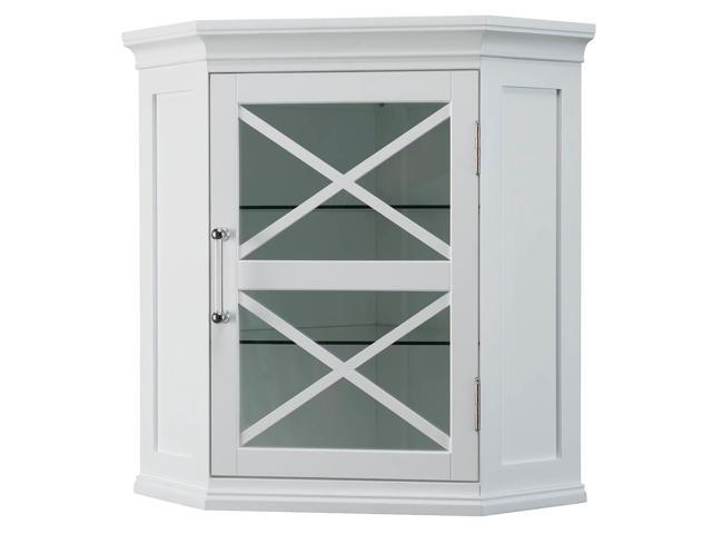 Elegant Home Fashions Elg 630 Blue Ridge Corner Wall Cabinet In White