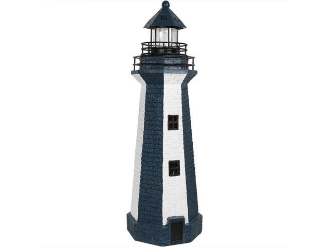 Sunnydaze Solar Led Garden Lighthouse Outdoor Yard Decoration 36 Inch Tall Blue Stripe