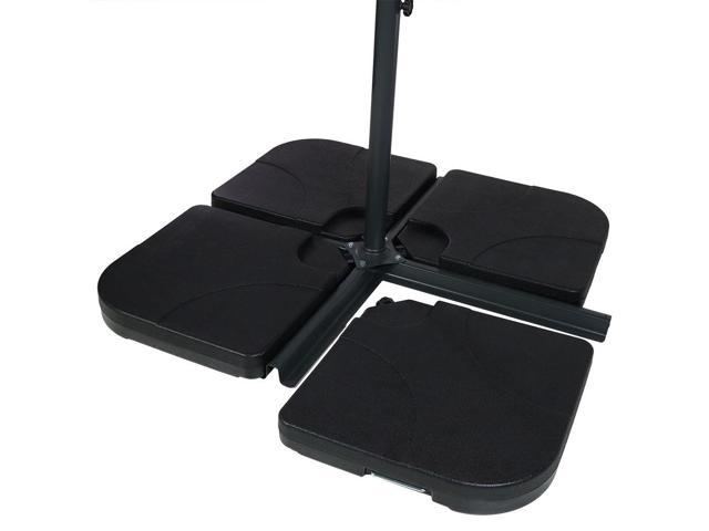 d8bbcca4c7af Sunnydaze Heavy-Duty Cantilever Offset Patio Umbrella Base Plates Stand,  Weights for Outdoor Cross Style Bases, Set of 4, Black - Newegg.com