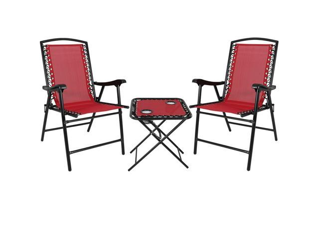 Fantastic Sunnydaze Folding Suspension Outdoor Lounge Chair Set 2 Lawn Chairs With Matching Side Table Red Newegg Com Pabps2019 Chair Design Images Pabps2019Com