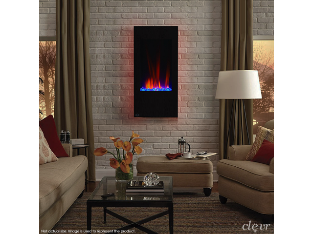 Clevr 32 Vertical Wall Mount Electric Fireplace Heater W Backlight