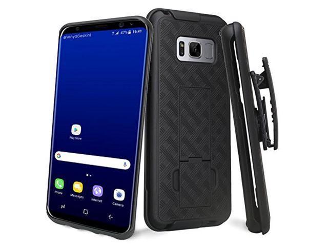 Amzer AMZ202371 Shellster Shell Case Holster with Kickstand for Samsung  Galaxy S8 Plus SM-G955U, Samsung Galaxy S8 Plus - 1 Pack - Black/ Black -