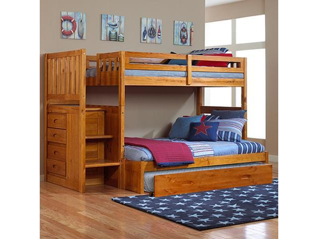 Discovery World Furniture Honey Mission Staircase Bunk Bed Twin Full