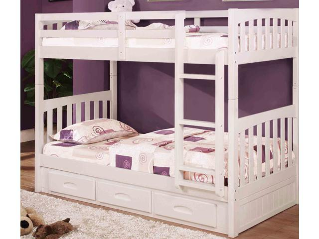 Discovery World Furniture White Mission Bunk Bed Twin Twin With 6