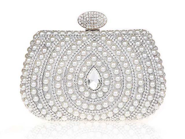 966447ac99 KAXIDY Ladies Girls Luxury Elegant Imitation Pearl Rhinestones Designer Evening  Bags Purses Clutch Bag Wedding Purse Party Prom Bag
