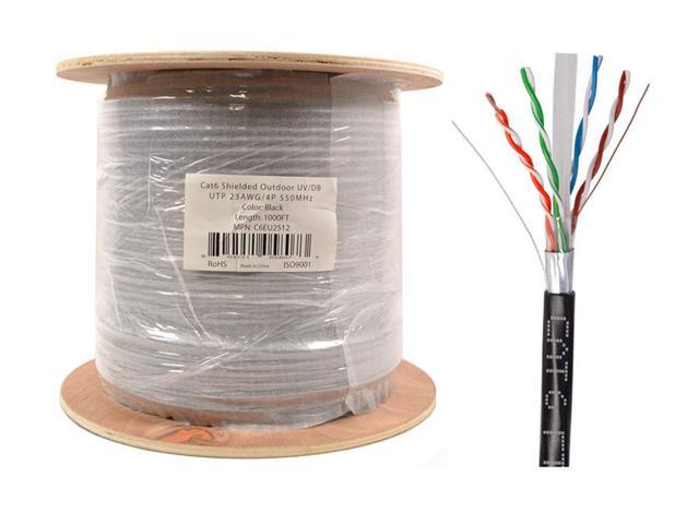 CAT6 500FT OUTDOOR 23 AWG 550 MHZ CABLE UTP WIRE SOLID DIRECT BURIAL UV LAN