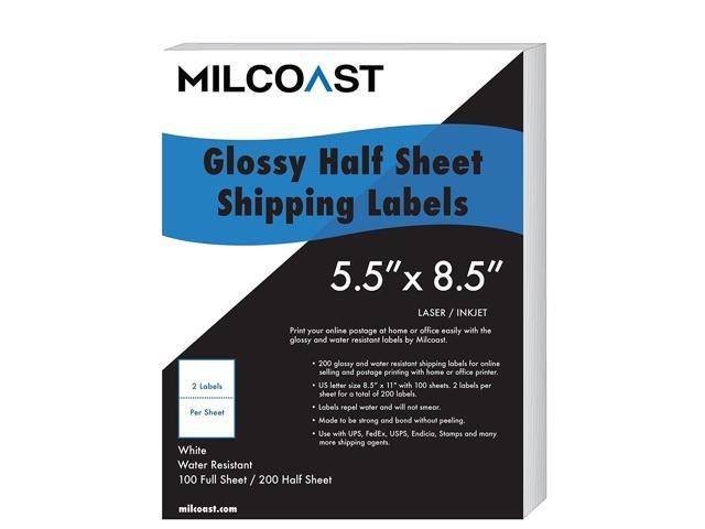 Milcoast 200 half sheet shipping labels glossy water resistant for milcoast 200 half sheet shipping labels glossy water resistant for laser or inkjet printer 5 reheart Image collections