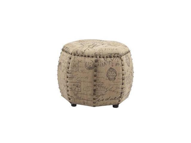 Strange Madison Park Fpf18 0045 Brianna Octagon Tufted Ottoman Natural Newegg Com Machost Co Dining Chair Design Ideas Machostcouk