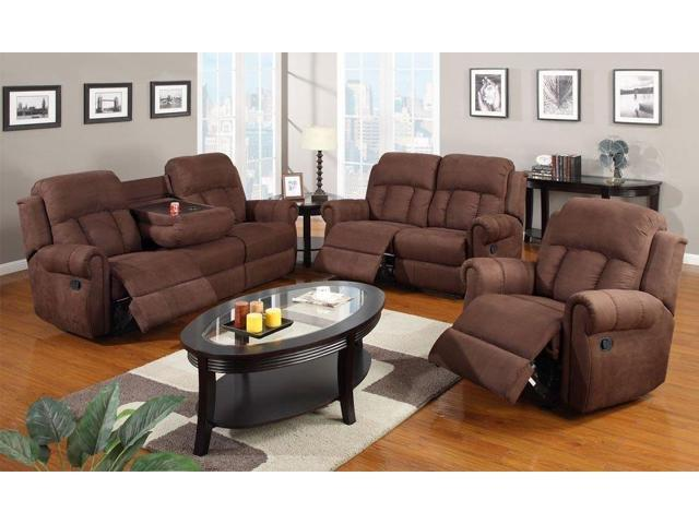 Simple Relax 1PerfectChoice 3pc Modern Rocker Recliner Sofa Cup Holder Couch  Loveseat Chair Brown Microfiber