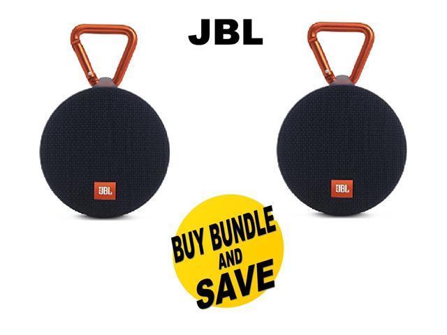 (1 Pair) JBL Clip 2 Waterproof Portable Bluetooth Speaker (Black) Bundle