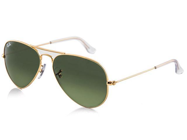 19e83b58b22 Ray Ban RB3025 Aviator Metal Classic Sunglasses - Gold Frame Dark Green  Lenses (58mm)